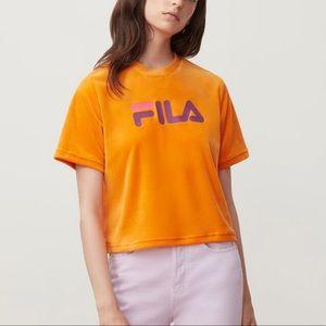 FILA Florita Logo Orange Velour Short Sleeve Tee